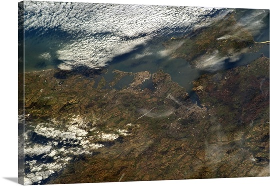 Portsmouth, England, with the Isle of Wight through a bit of cloud