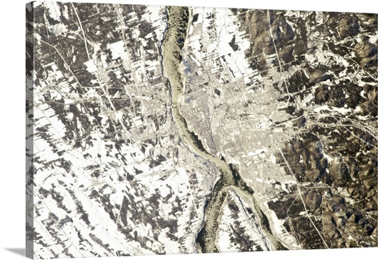 Quebec City - on December 31st at noon, seen from the International Space Station