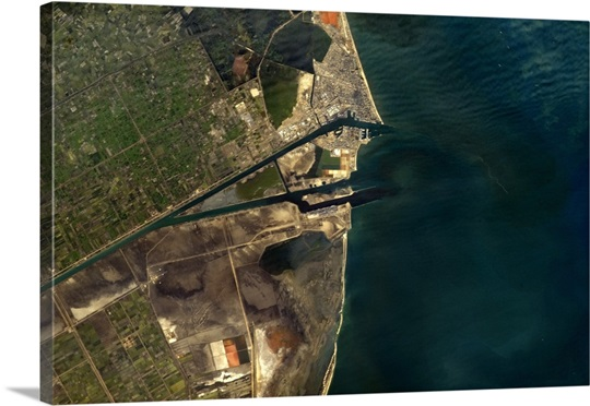 Suez Canal, as it opens into the Mediterranean. Nature and human engineering
