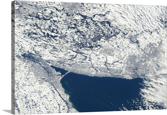 The Golden Horseshoe snowily wrapping the end of Lake Ontario