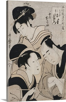 A Triple Portrait Of Ohan Of The Shinanoya, Choemon And His Wife Okinu