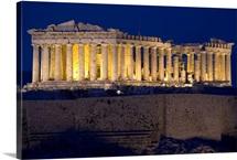 Athens Parthenon At Dusk