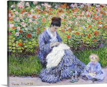 Camille Monet And A Child In The Artist's Garden In Argenteuil, By Claude Monet