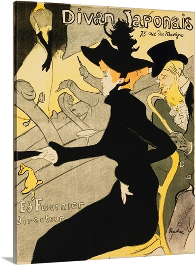 Divan japonais by henri de toulouse lautrec photo canvas for Divan japonais toulouse lautrec