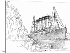 Drawing of the Titanic Hitting an Iceberg Photo Canvas