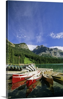 Emerald Lake And Canoe Docks, Yoho National Park, British Columbia, Canada
