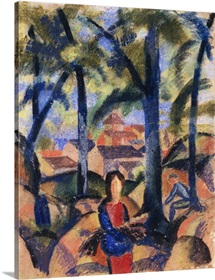 Girl With Collected Brushwood By August Macke
