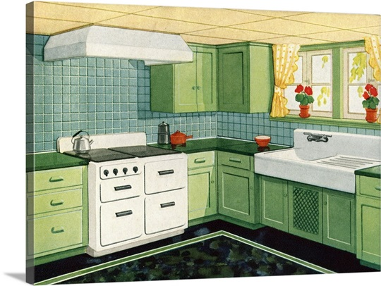 Illustration Of Ideal American Kitchen Photo Canvas Print