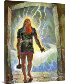 Illustration Of Thor With His Hammer By Peter Hurd