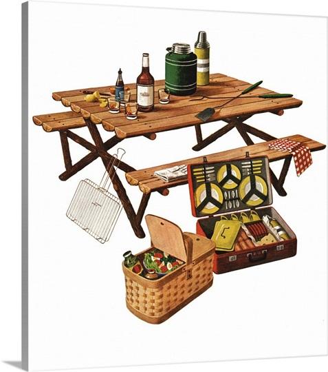 Picnic Basket Dish Set : Picnic table with basket and dish set photo canvas