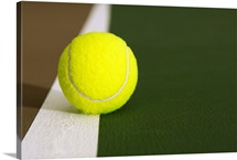 Tennis Ball On White Boundary Stripe