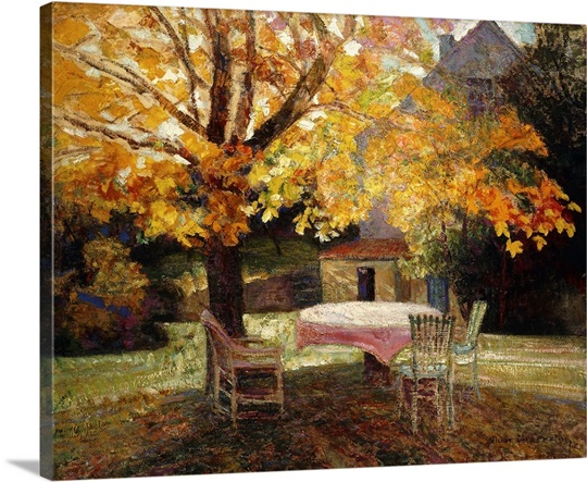 the terrace autumn by victor charreton photo canvas print