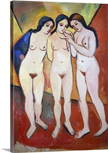 Three Nude Women (Red and Orange) by Auguste Macke