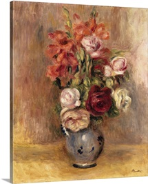 Vase of Gladiolas and Roses by Pierre-Auguste Renoir