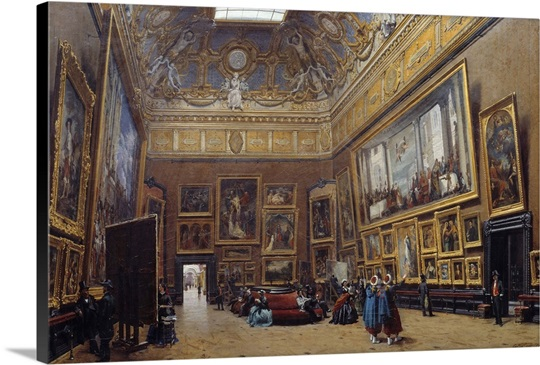 View of the grand salon carre in the louvre by giuseppe for Salon du louvres