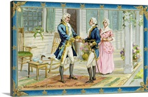 Washington And Lafayette At Mount Vernon Postcard
