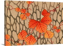 Woodblock Print Of Fall Leaves On Delicate Branches