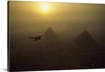 In Flight Above The Pyramids Of Giza, Giza, Egypt