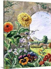 Pot marigolds, bellflowers, daisies, pansies, cowslip, polyanthas.