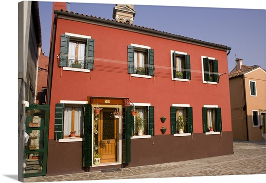 Bright Green House Italy Venice Burano A Bright Orange House With Green Shutters Photo