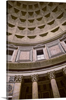 Looking up at the coffered ceiling of the Pantheon in Rome, Italy