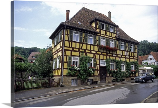Split tibered house in germany photo canvas print great for Big houses in germany
