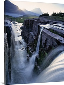 Triple Waterfall at Logan Pass in Glacier National Park in Montana