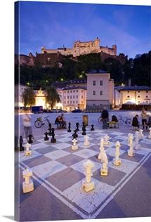 Austria, Salzburg, Kapitelplatz, giant chess board