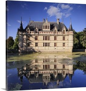 france centre loire valley indre et loire azay le rideau view of the castle photo canvas. Black Bedroom Furniture Sets. Home Design Ideas
