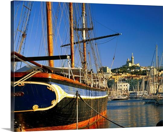 France marseille vieux port and notre dame de la garde photo canvas print great big canvas - Pharmacie de garde marseille vieux port ...