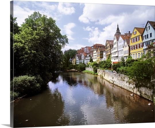 Germany, Baden-Wurttemberg, Tubingen, Houses On The River
