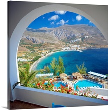 Greece, Cyclades, Amorgos, Aegialis Hotel, view towards the sea