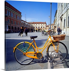 italy emilia romagna ravenna piazza del popolo bicycle locked to rack photo canvas print. Black Bedroom Furniture Sets. Home Design Ideas