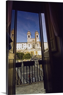 Italy, Rome, Spanish Steps, Trinita dei Monti, View from behind a window