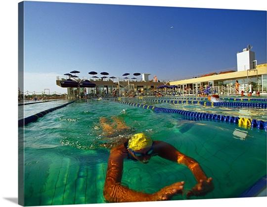 Italy tuscany versilia viareggio the swimming pool of bagno balena photo canvas print - Bagno italia viareggio ...