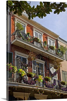 Louisiana, New Orleans, Mardi Gras masks on balconies