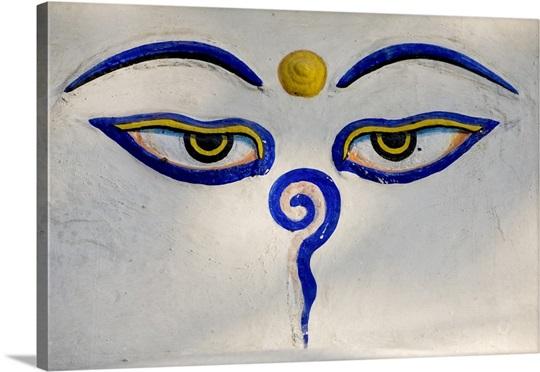 Nepal, Central, Kathmandu, Hindu third eye symbol Photo ...