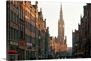 Poland Pomerania Gdansk Old Town Ulica Dluga Photo Canvas Print
