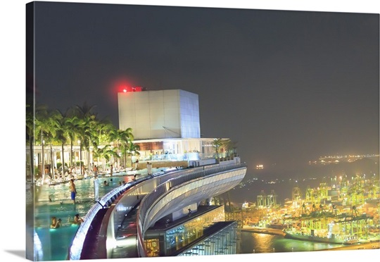 Singapore People At The Pool On The 57th Floor Of Marina Bay Sands Hotel Photo Canvas Print