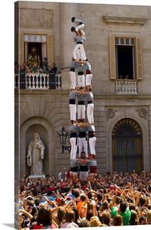 Spain, Catalonia, Barcelona, Catalan Human Castles, Placa Sant Jaume - Merce Fair