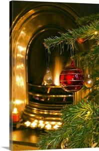 Uk london christmas decorations and fireplace photo canvas print