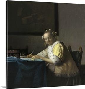 A lady writing