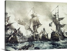Battle of Trafalgar, October 21, 1805. Engraving. National Library, Madrid