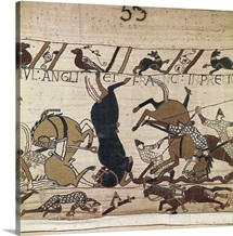 Bayeux Tapestry. 1066-1077. Scene of the battle of Hastings