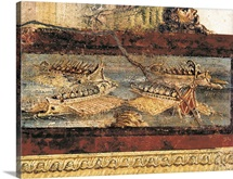House of the Vettii. Detail with warships. First Century A.D. Pompeii, Italy