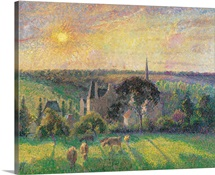 Landscape at Eragny with Church and Farm, by Camille Pissarro, ca. 1895. Musee d'Orsay
