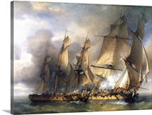 Naval battle between frigates between La Bayonnaise and L'Embuscade, Dec, 14, 1798