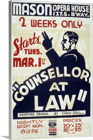Poster advertising Counselor at law, a play written by ...