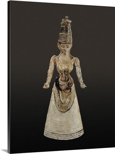 Snake Goddess Ca 1700 Bc 1600 Bc Glazed Ceramics