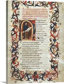 The Divine Comedy. s.XV. Dante writing. Gothic art